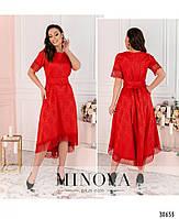 Привабливе плаття, прикрашене на рукавах і подолі мереживом з 46 по 54 розмір, фото 10
