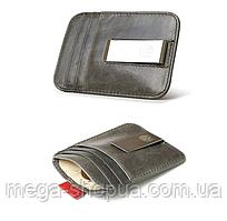 Мужской кожаный зажим для денег Elite Leather Wallet Gray. Шкіряний зажим для грошей