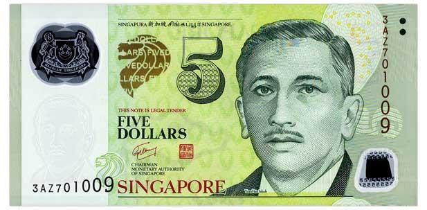 Сингапур 5 долларов 2005 пластик UNC