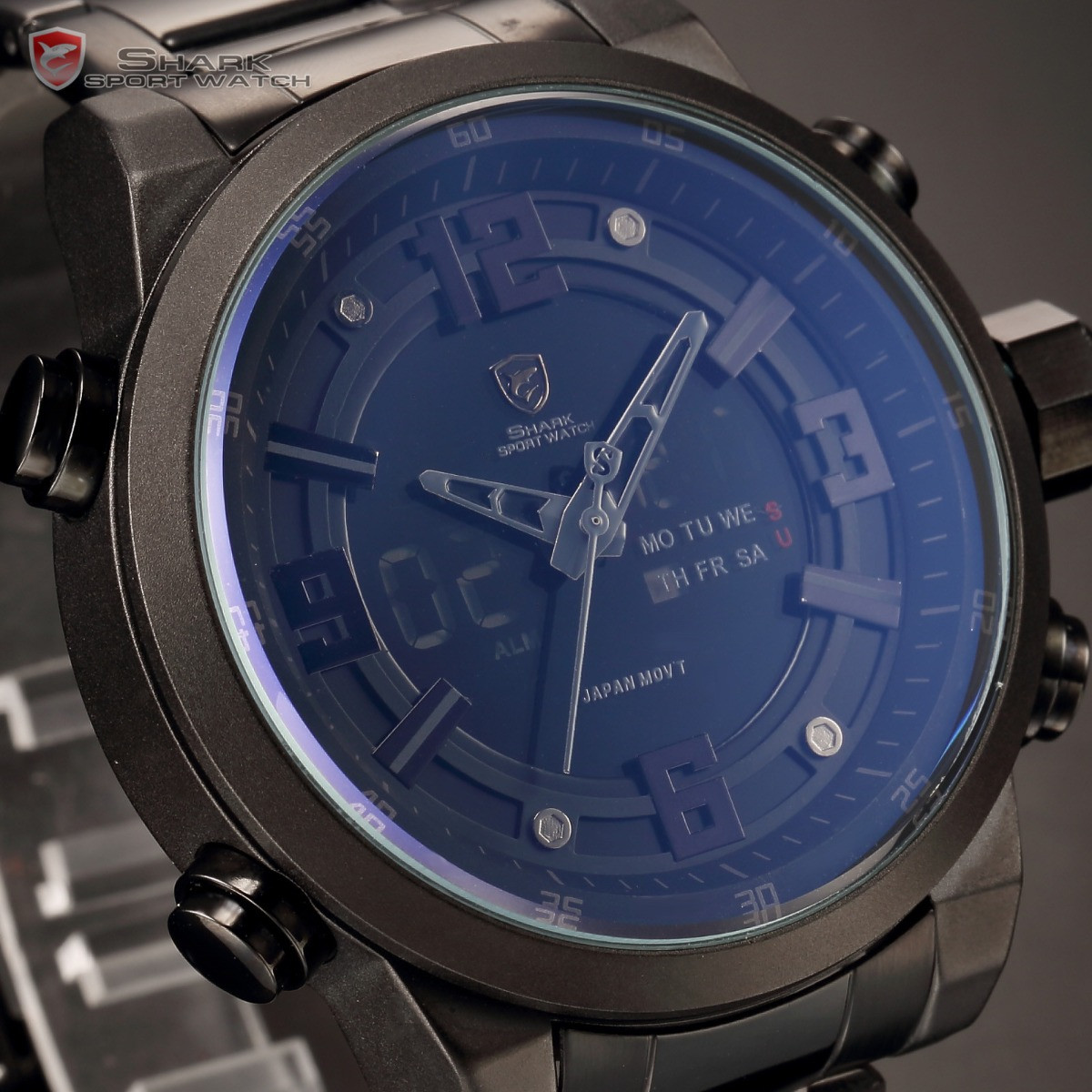 Мужские наручные часы Shark SH343 Black Men LCD Digital Steel Quart
