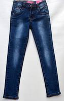 Джинсы для девочки 6-10 лет синие с потертостями модель - 28145