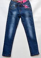 Джинсы для девочки 6-10 лет синие с потертостями модель - 28146