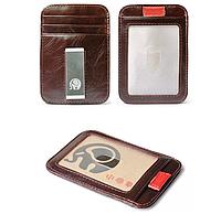 Мужской кожаный зажим для денег Elite Leather Wallet Wine Red, фото 1