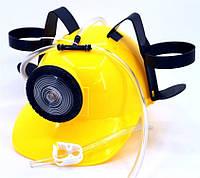 Шлем МЧСника с фонарем для пива желтый