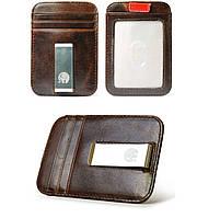Мужской кожаный зажим для денег Elite Leather Wallet Dark Brown. Шкіряний зажим для грошей