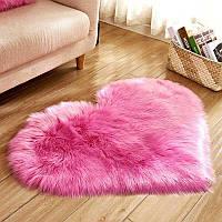 Коврик Сердце Пушистый MacroHorizon Ярко-Розовый 40*50 см (MG-RUG-2005123)