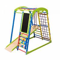 Детский спортивный комплекс-уголок для дома и квартиры, сетка, горка, кольца, рукоход 132х85х130 см SWP