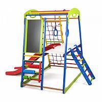 Детский спортивный комплекс-уголок для дома и квартиры, сетка, горка, кольца, рукоход 132х85х130 см SWP 3