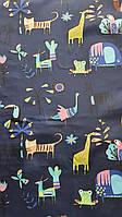 Плащевка детская зверята на темно синем, фото 1
