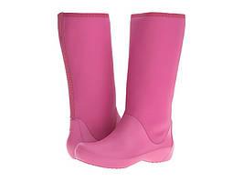 Crocs Сапоги резиновые утепленные кроксы высокие дождевики RainFloe Tall Boot Berry Women's