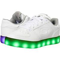 Skechers Светящиеся кожаные кроссовки белые Energy Lights Elate White Sneaker