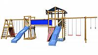 Детская площадка-игровой комплекс спортивный деревянный, песочница, башня, горки, качели, мостик 315х400х960см