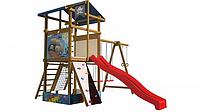 Детская площадка-игровой комплекс спортивный деревянный, горка, качели, кольца, лестница 315х400х450 см