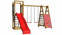 Детская площадка-игровой комплекс спортивный деревянный, горка, качели, лестница, сетка 240х360х360 см
