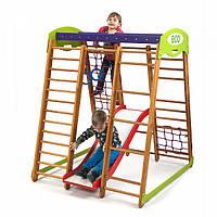 Детский спортивный комплекс-уголок для дома и квартиры, сетка, горка, кольца, рукоход 150х124х132 см КP 1