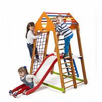 Детский спортивный комплекс-уголок для дома и квартиры, сетка, горка, кольца, рукоход 170х85х132 см BWP 2