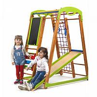 Детский спортивный комплекс-уголок для дома и квартиры, сетка, горка, кольца, рукоход 150х85х132 см К-2
