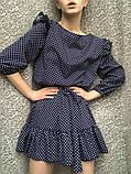 Платье женское с пояском в горох 42-46 рр. СИНИЙ, фото 6