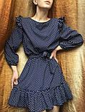 Платье женское с пояском в горох 42-46 рр. СИНИЙ, фото 7