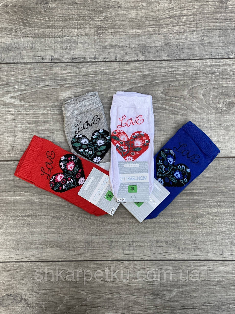 Шкарпетки жіночі Montebello, шкарпетки короткі з написом LOVE з серцем в квіти, 36-40 12 шт в уп. мікс 4 кольорів