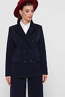 Классический базовый женский однотонный пиджак на пуговицах цвет синий пиджак Паркер2
