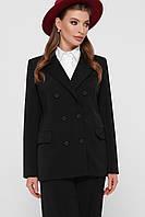 Классический женский однотонный пиджак на пуговицах цвет черный пиджак Паркер2
