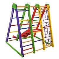Детский спортивный комплекс-уголок для дома и квартиры, сетка, горка, кольца 130х100х130 см Э-4