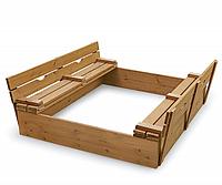 Детская Деревянная Песочница со складными лавочками, бортиками и крышкой, для улицы и дачи, 145х145х30 см