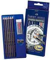 Набор графитных карандашей 6 шт.+ластик+точилка, 114000 Faber Castell
