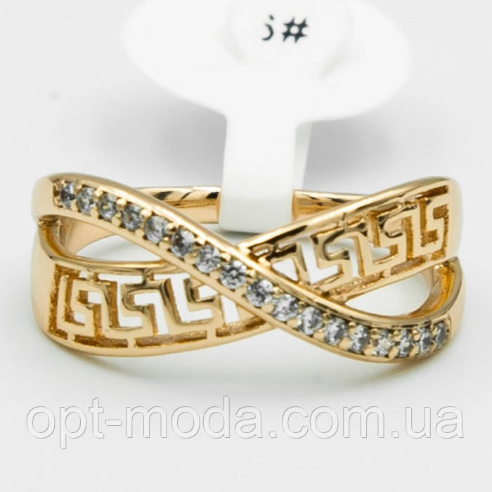 Красивое кольцо оригинальной формы с белыми цирконами и орнаментом, размер - 16,17,22, цвет - золото