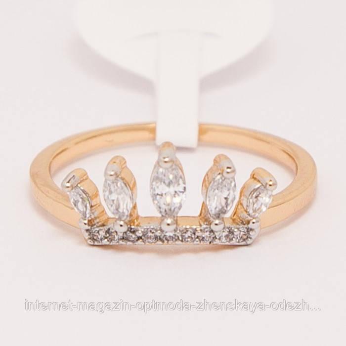 Ніжне жіноче кільце з каменями, розмір - 16,17,18,19, колір - золото