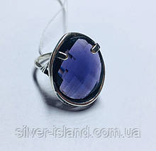 Серебряное круглое колечко с фиолетовым цирконом Мишель