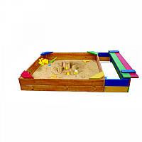 Детская Деревянная Компактная Песочница с бортиками, уголками, лавочкой, для улицы и дачи 145х145х30 см
