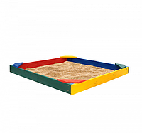 Детская Деревянная Песочница Ракушка с лавочкой и бортиками, для улицы и дачи, 145х145х12 см