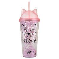 Тамблер-стакан YES Pink Cat 450мл с трубочкой (707076)