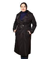 Трэнч женский с отлетной кокеткой  черный большие размеры