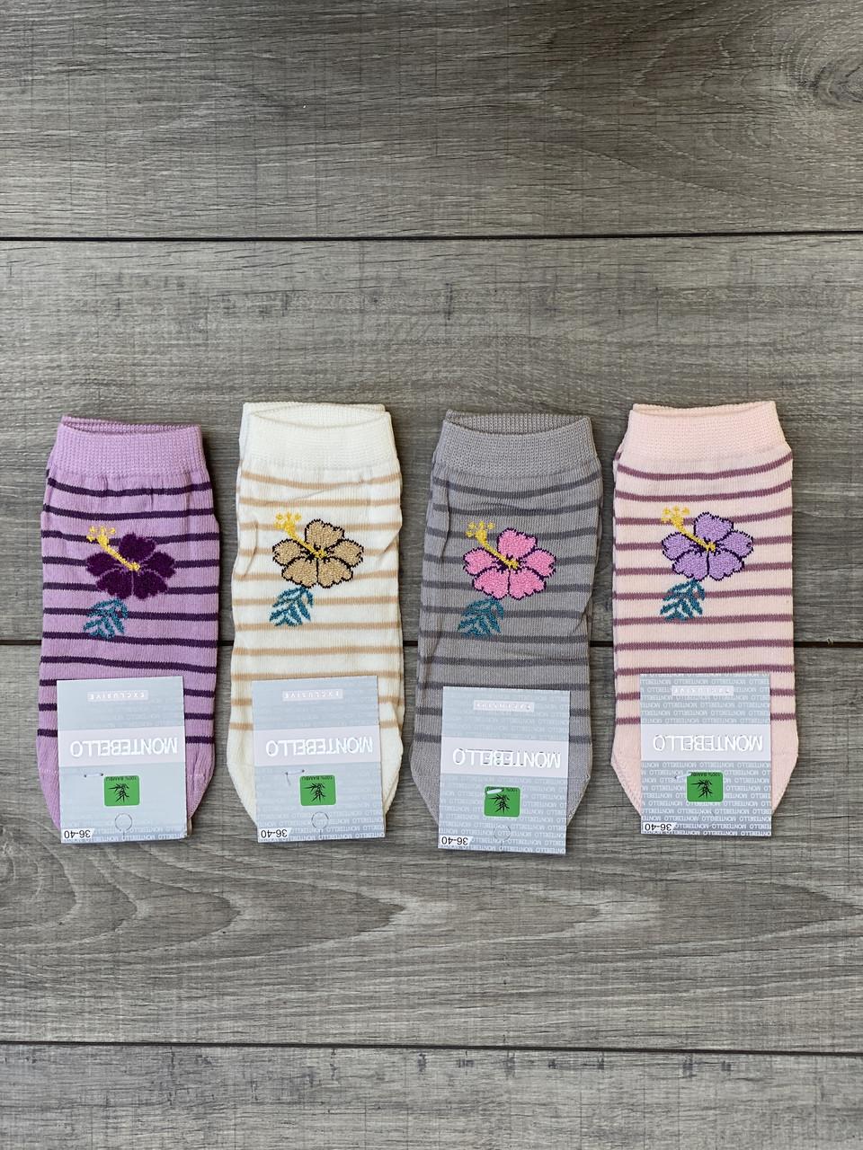 Женские короткие хлопок носки в полоску Montebello с цветком 35-40 12 шт в уп микс цветов