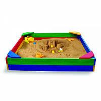 *Детская разноцветная, прочная сосновая песочница без крыши для улицы (Украина), размер 145-145-24 см арт. 1