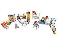 Кукольная мебель ЭКО для кукол ЛОЛ в кукольный домик - Набор из 16 предметов для кукольного домика (1301)