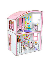 """Кукольный ЭКО домик для кукол Барби (Barbie) """"Уютная Вилла"""" с мебелью и текстилем 50х34х69 см (3123)"""