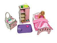"""Кукольная мебель ЭКО для кукол в кукольный домик - Набор """"Спальня"""" с кроватью, шкафом и комодом (3111)"""