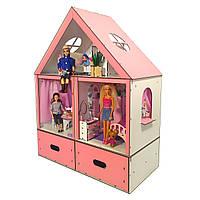 Кукольный домик для кукол Барби (Barbie) с мебелью и текстилем Особняк + ящик для игрушек  68х34х86 см (3107)
