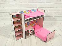 """Кукольная мебель ЭКО для кукол в кукольный домик - Набор """"Спальный уголок"""" из 2 предметов с текстилем (6103)"""