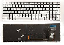 Клавіатура для ноутбука ASUS (N551, N751 series) RU silver, без кадру, підсвітка клавіш нова