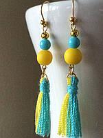 """Довгі сережки """"Ніжність"""" жовто-блакитні ручної роботи"""