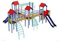 Спортивно-игровой уличный комплекс для детской площадки с двумя металлическими горками Замок 678х662х295см