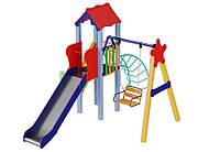 Спортивно-игровой уличный комплекс для детской площадки с качелей и металлической горкой Бабочка 420х350х330см
