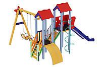 Спортивный уличный комплекс для детской площадки с качелями и металлической горкой Авалон 533х423х345 см