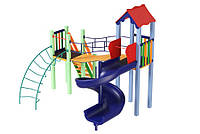 Спортивно-игровой уличный комплекс для детской площадки с одной пластиковой горкой спираль Месяц 428х316х345см