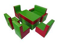 Комплект мягкой модульный детской мебели из 6 элементов со стульями, диваном и столом Гостинка 130х95х50 см